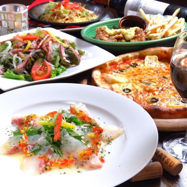 【菜餚意大利120分鐘的套餐,你可以喝的任何東西】從三重漁民那裡放養的鮮魚生牛肉片是烏里!