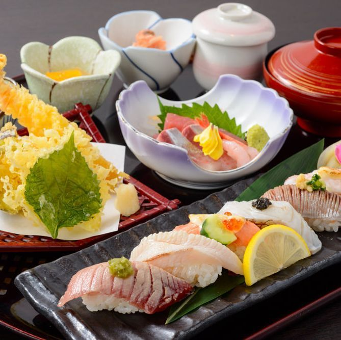 Broiled sushi and parasol in Paris