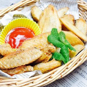鸡肉和薯条