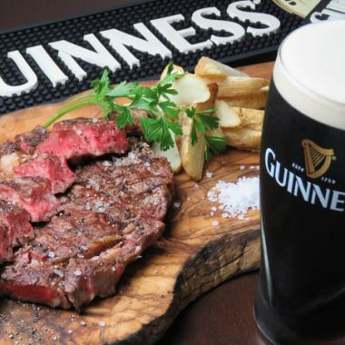 """1 pound steak course ☆ gold"" 70 types of beer draft beer such as 5 types are all you can drink ★ 2 hours 7 items 5000 yen"