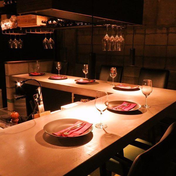 ライブ感があるカウンターは2~4名様、デートに◎目の前で調理している雰囲気をお楽しみください。