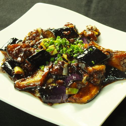 Fried eggplant scented soy sauce