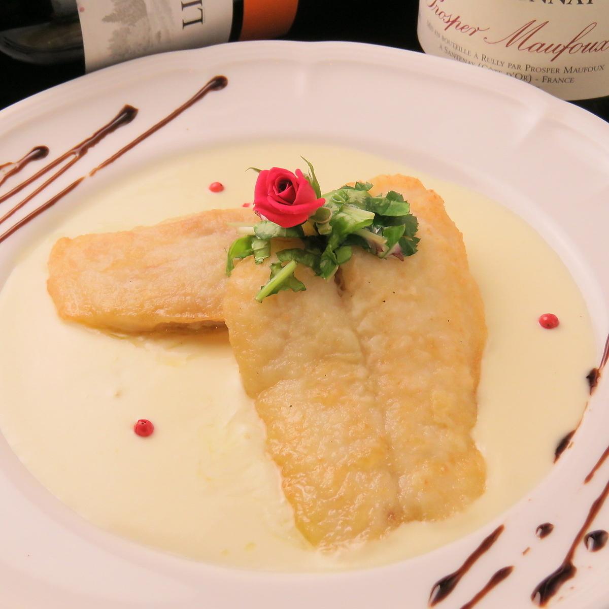 白身魚のムニエル シャンパンソース