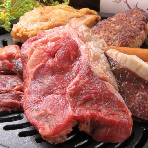 肉類愛好者設置!! Gattsuri積聚用板和生火腿餐版本和120分鐘吃的東西都可以喝[日 - 樹限制]3500日元