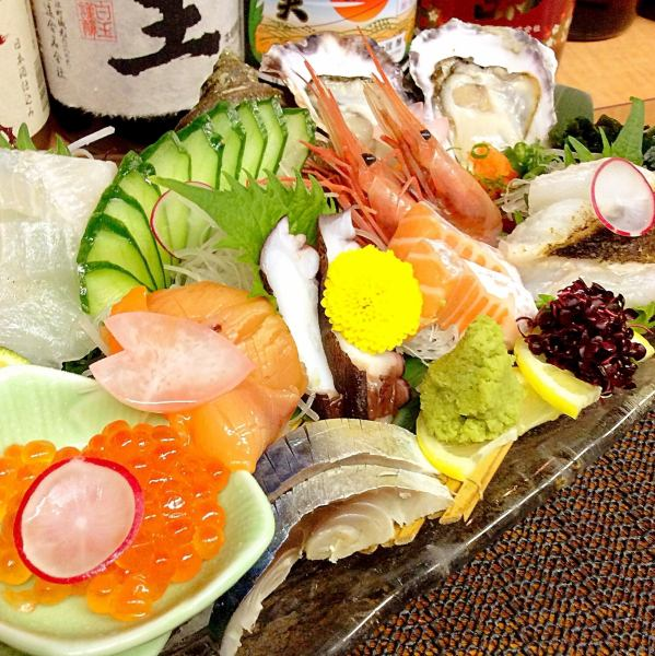 Pre-caught in lunch at lunch on the day 9 kinds of luxurious sashimi including luxurious fish with special sauce! 【櫟 ~ Kuuki - Special Sashimi Sushi】