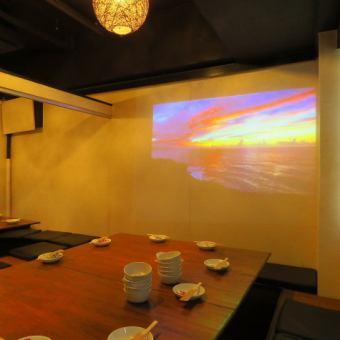 プロジェクター個室。各種宴会や歓送迎会にご利用ください。