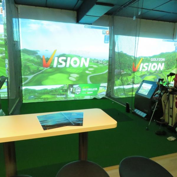 """Installation of simulation machine """"GOLFZON VISION"""".We have over 150 world class courses.Two high speed camera sensors analyze shots precisely, such as head trajectory, flying distance, ball speed, and spin amount.There are three kinds of mats, fairway, rough, and bunker, and realistic hit feeling is reproduced.You can experience the real round play as it is."""