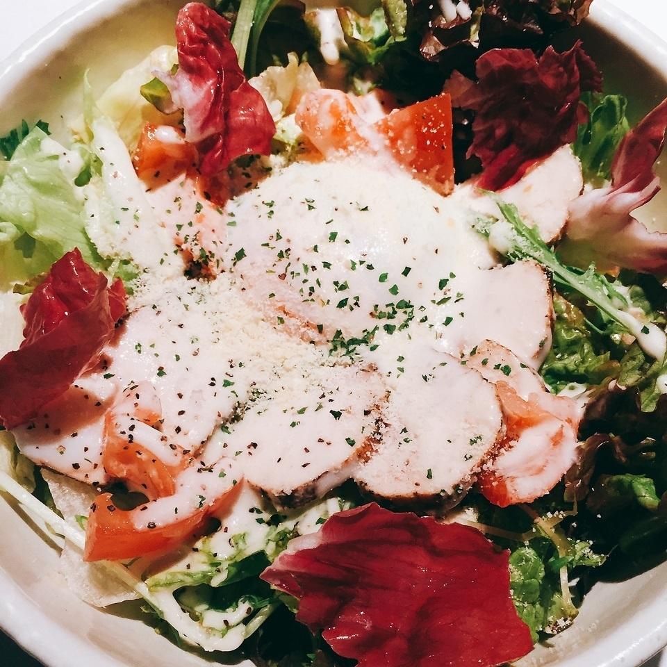 Roasted egg with roast pork salad