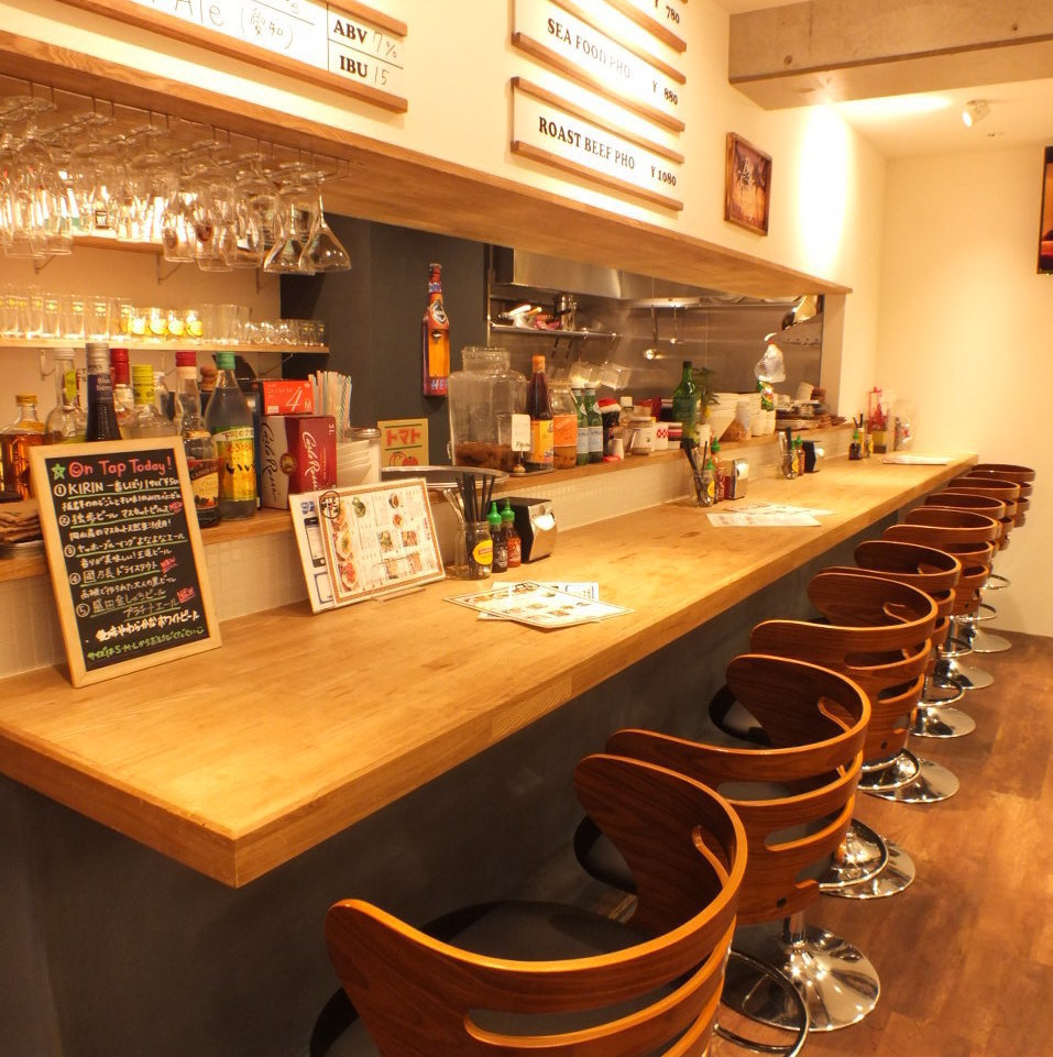 【Counter Seat】 It has become a homey atmosphere that will casually visit.It is also perfect for dates and anniversaries ♪