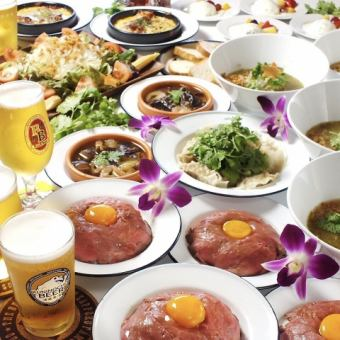 【Classic course】 All 8 items including water dumplings, roast beef bowl, Takatsuki Fo, tomato cheese grill etc. ◆ 2 H with drink all you can