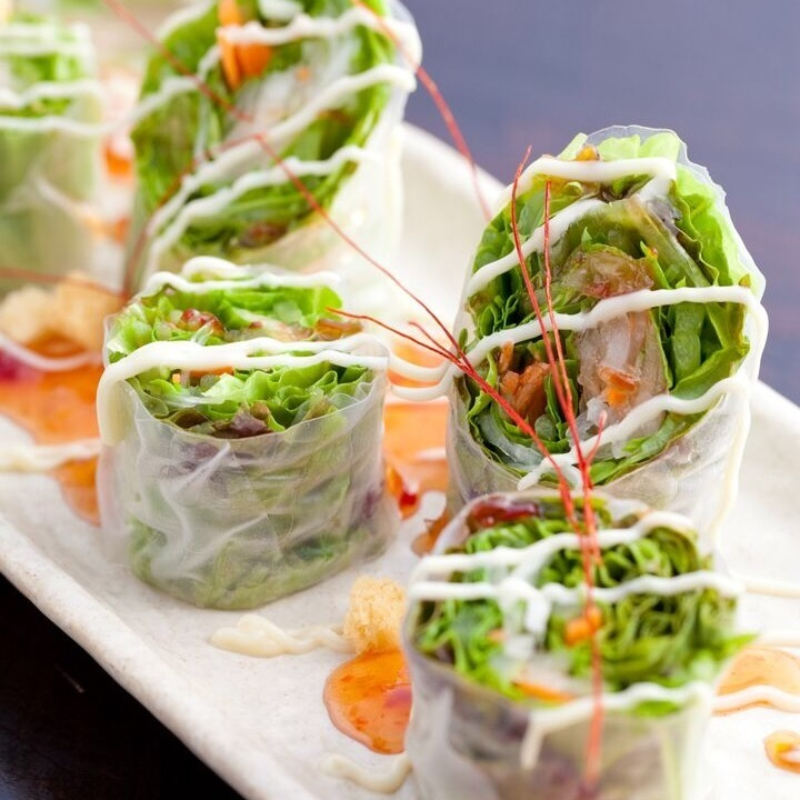 Raw spring roll salad