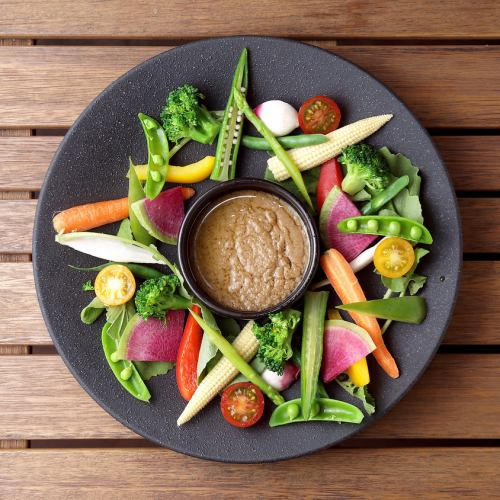 Colorful vegetables Bagna cauda