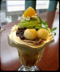 Japanese style green tea parfait