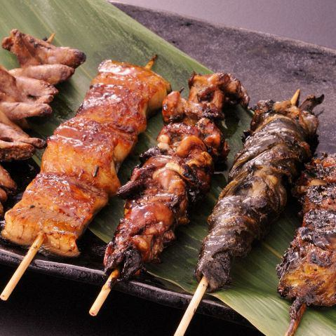 Four eel skewers set 1300 yen (tax excluded)