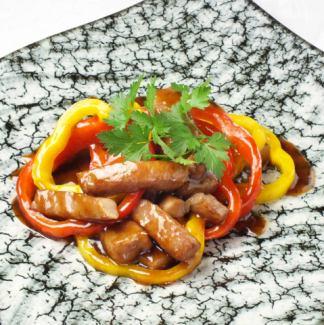 精心挑選的紅肉非常稀薄的肉飯