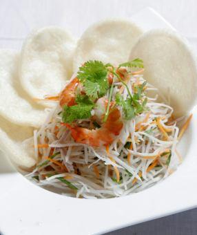 日本蘿蔔和蝦沙拉