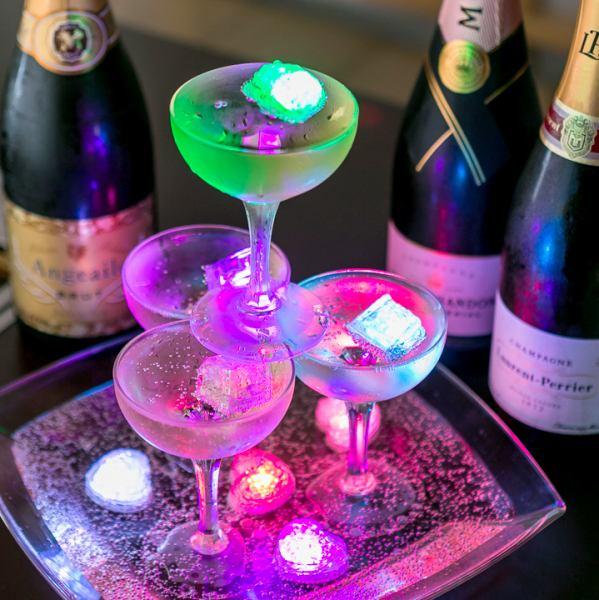 【サプライズ!!無料シャンパンタワー】BULLSでは誕生日・記念日のお客様に無料でシャンパンタワーをプレゼント★サプライズの演出などもお気軽にお申し付け下さい♪