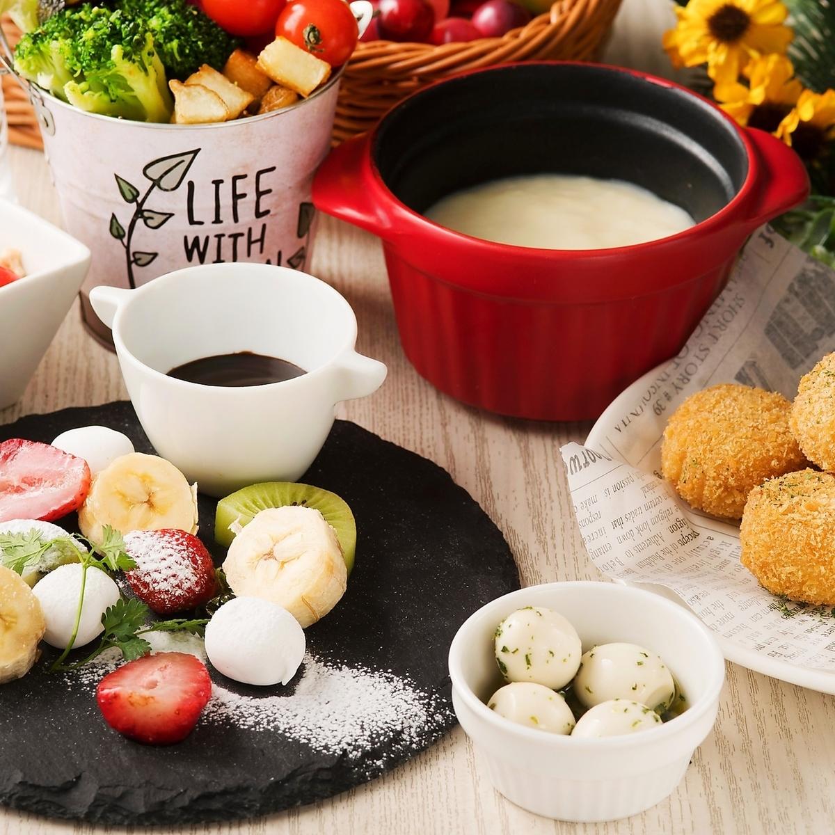 """""""Lunch""""◆ 치즈 퐁듀 뷔페 포함 ♪ 퐁듀 런치 <120 분 음료 뷔페 포함> 【7 종 2000]"""