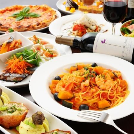 【All-you-can-drink for 2 hours】 2 kinds of pasta and 2 kinds of Pizza Grandpara B course 4320 yen