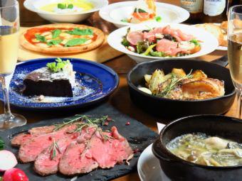 【白色模式CAFE女性协会套餐】牡蛎ahijo和披萨选择等所有8项⇒2980日元(含税)