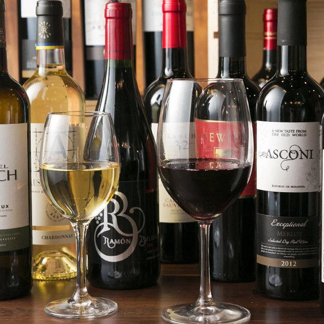 풍부한 와인 병을 준비.