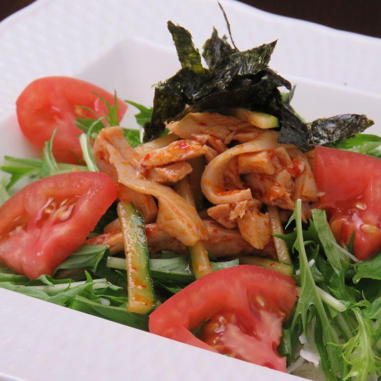 蒸し鶏のピリ辛サラダ