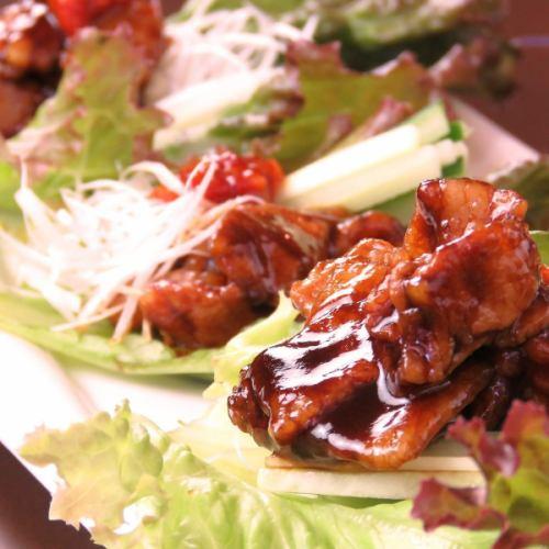 巻野菜で食べる「豚肉」の甜麺醤仕上げ