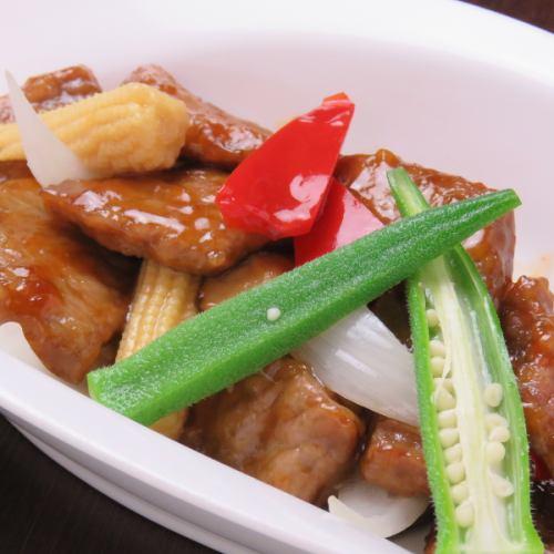 牛肉と彩り野菜のブラックペッパー炒め