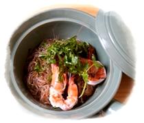 蒸蝦和蒸米飯