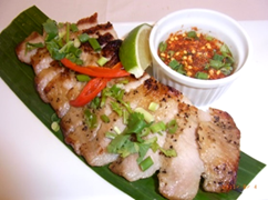 Spicy tamarind sauce with pork tongs