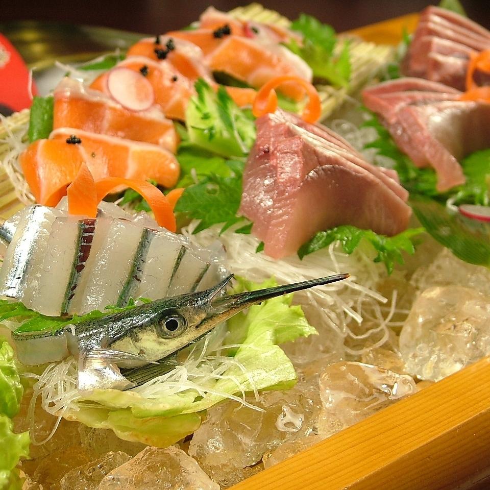 Assortment of sashimi (seven species)