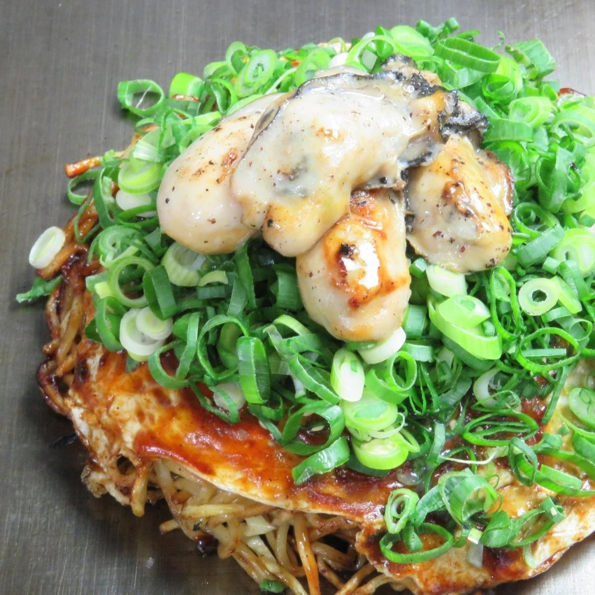 牡蛎生(叶,葱,牡蛎,荞麦面或乌冬面)