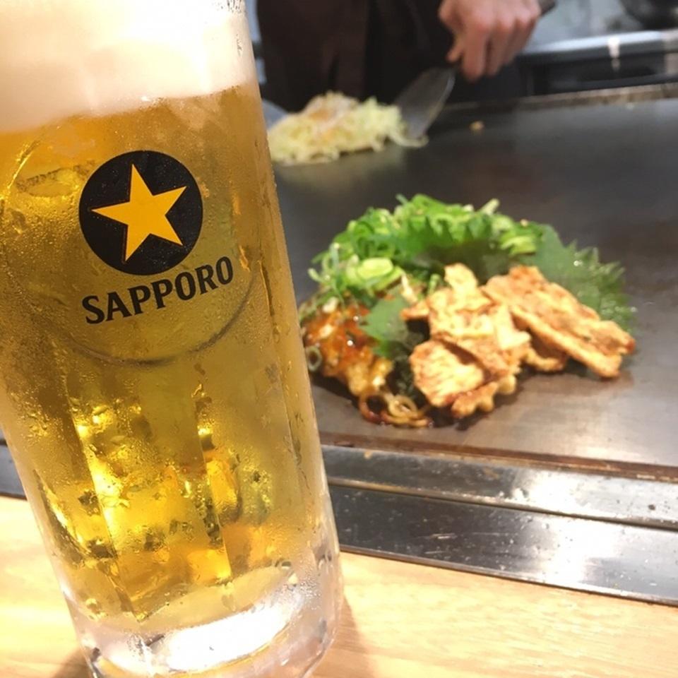 산다화 자랑 오코노미 야키와 맥주 ♪