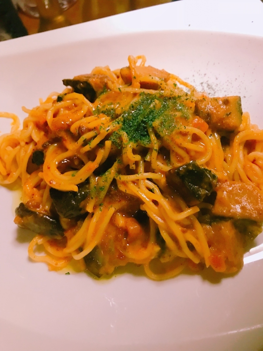 Bologna pasta with pumpkin and eggplant cheese
