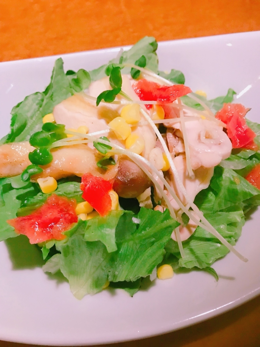 Steamed chicken sesame dressing salad