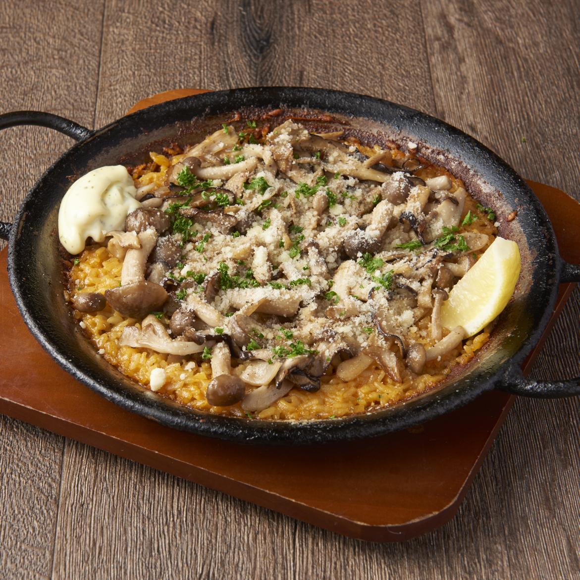 奶酪和蘑菇西班牙海鲜饭