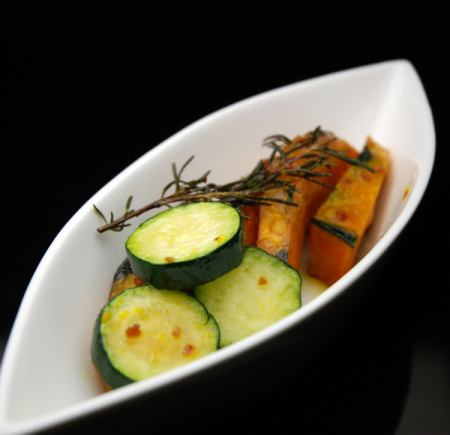 Marinated pumpkin and zucchini