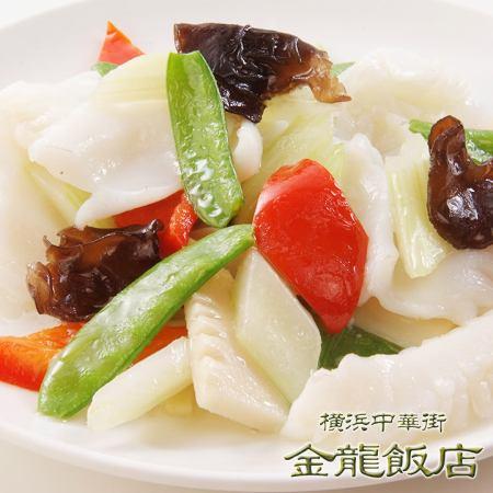 イカと季節野菜の炒め