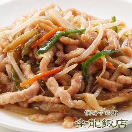 炒猪肉和蔬菜切丝