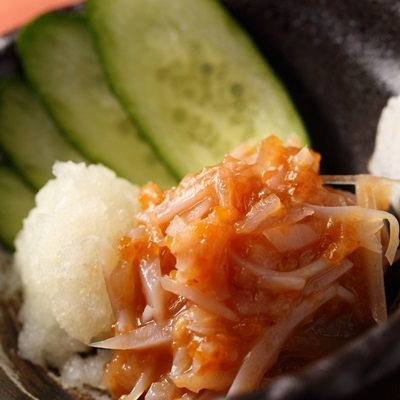 Plum Quartz, Matsumae pickled, Broiled salted fish and so on.Tsunami who rejoice too