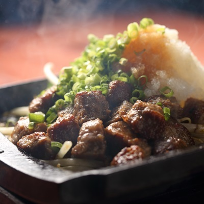 Grilled Steel Plate Diced Steak with Ponzu
