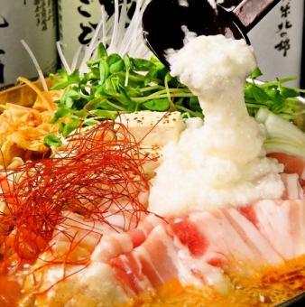 豚トロロ鍋(醤油味orチゲ味)