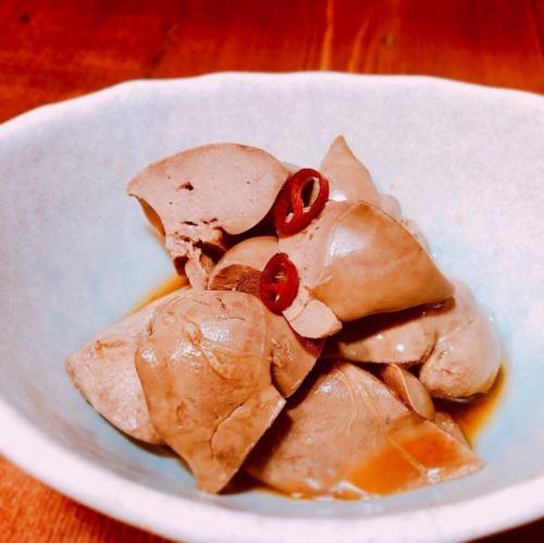 鶏レバー正油漬け/塩もみキャベツ/おつまみメンマ/枝豆/梅たたきキュウリ