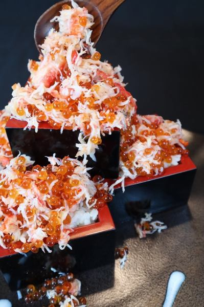 ぷりっぷりのいくらと蟹をぶっかけます≪イクラ蟹升≫クーポン利用で1升498円→298円(税抜)