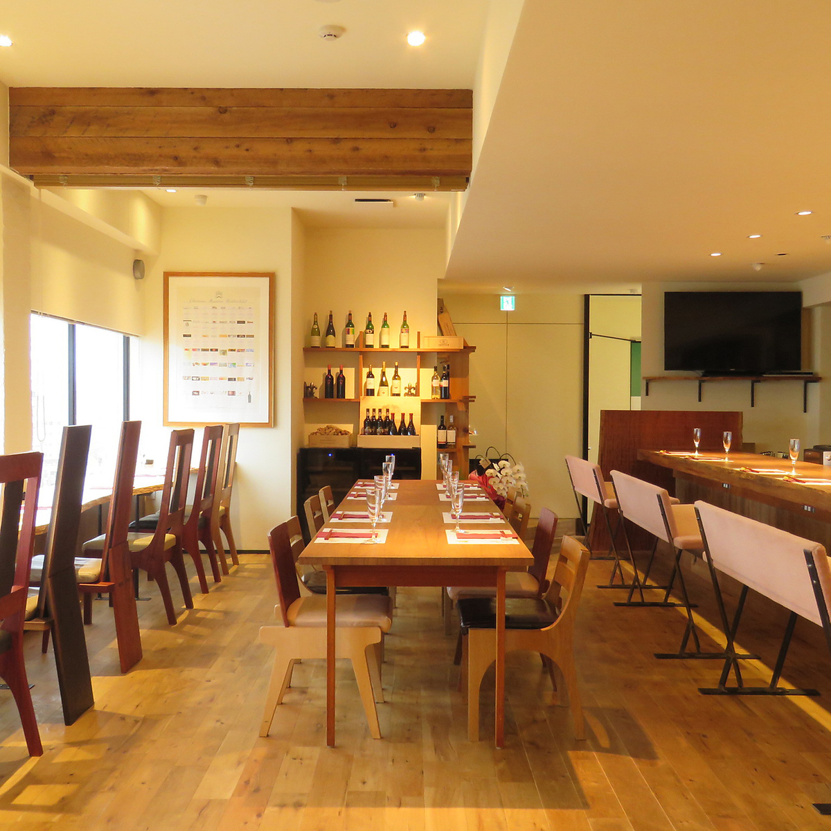 Charged parties can be used from 20 people / up to 32 people sitting / up to 50 people dining.