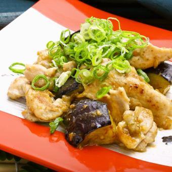 茄子と栗豚の特製鰹味噌炒め