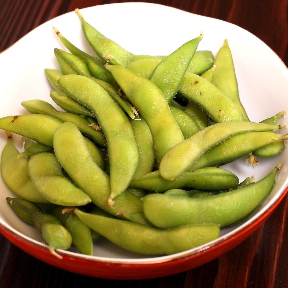 梅ザーサイ/枝豆/塩だれキャベツ/長芋の酢物/イカ塩辛/冷奴