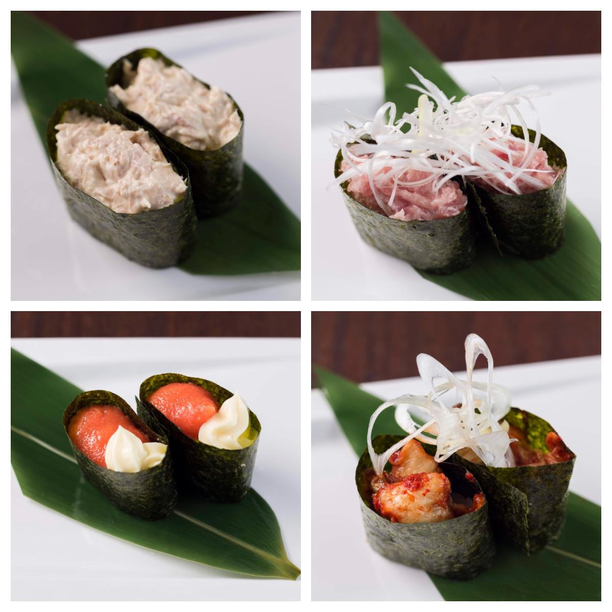 ツナマヨ寿司/ネギトロ寿司/明太マヨ寿司/キムチ寿司