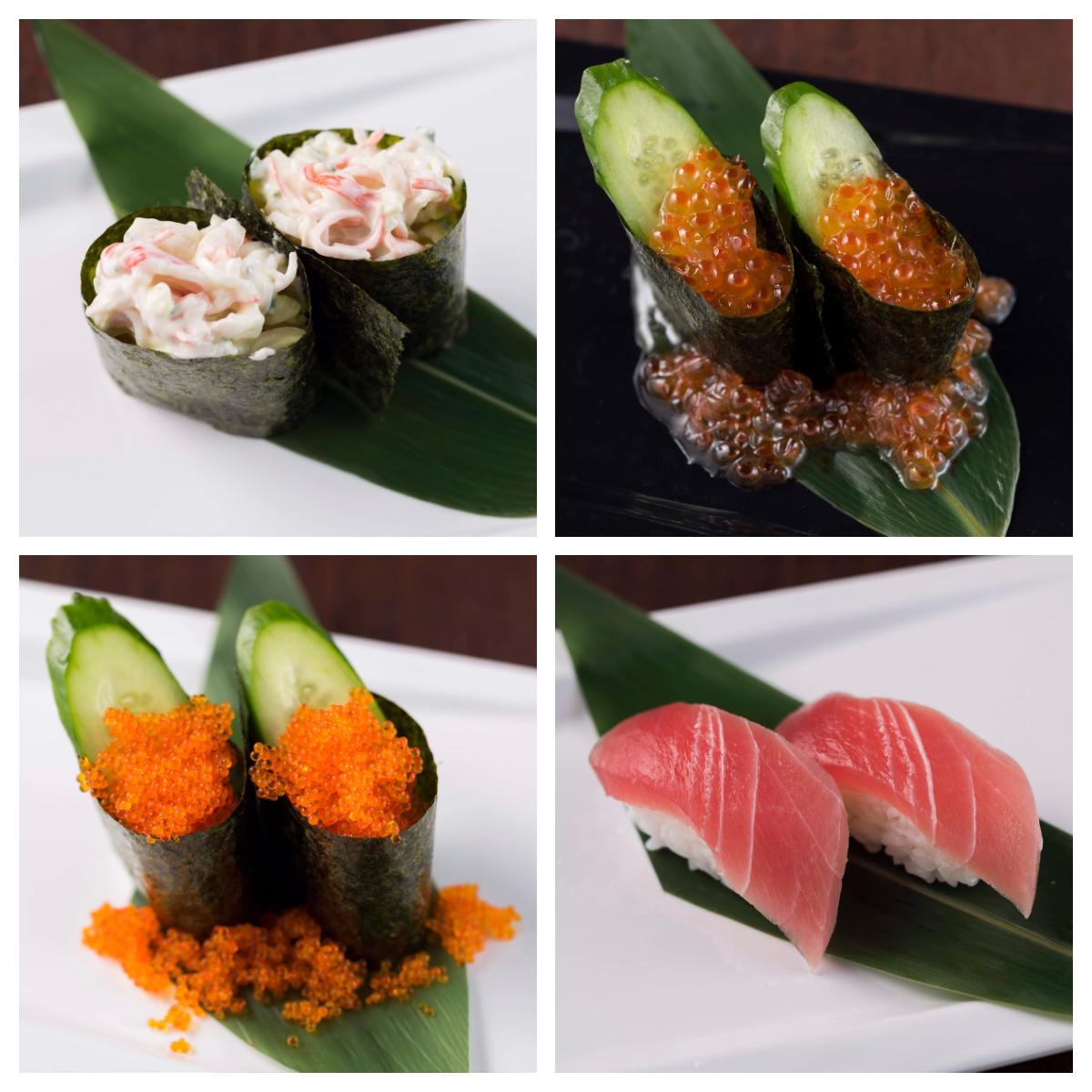 カニサラダ寿司/いくらこぼれ寿司/とびっここぼれ寿司/マグロ漬け寿司