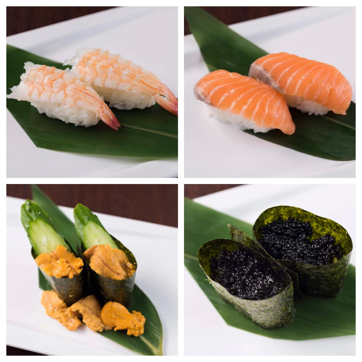 海老寿司/ウニこぼれ寿司/キャビア寿司/サーモン寿司